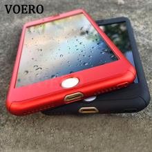 VOERO 360 Degree Full Cover Black Case For iPhone 7 7 6 6s Plus Case For iphone 7 7 Plus 6 Cover Phone With Tempered Glass(China)