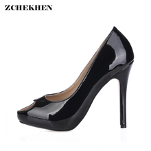 Open Toe Women High Heels 11CM Heel Height Sandals Shoes Women Big Size 35-43 Summer Causal Patent Leather Solid Black(China)