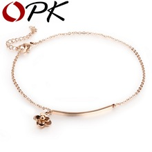 OPK Antique Flower Design Woman Anklets Classical Rose Gold Color Stainless Steel Women Ankle Bracelet Link Chain Jewelry GZ017(China)