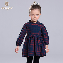 Simyke Girls Autumn Plaid Dress With Long Sleeve 2017 New Children's Dress For Girl Toddler Girls Clothing Kids Clothes D8218