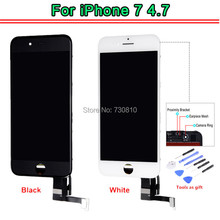1PCS OEM LCD Display for iPhone 7 LCD Screen Digitizer Touch Glass Screen Panel with LCD Assembly white&black + Free Tools