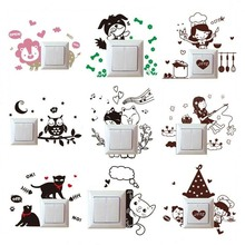 DIY Cartoon Animal Cat Dog Light Switch Wall Stickers Vinyl Mural Art Decals for Baby Kids Nursery Room Home Decoration V2932
