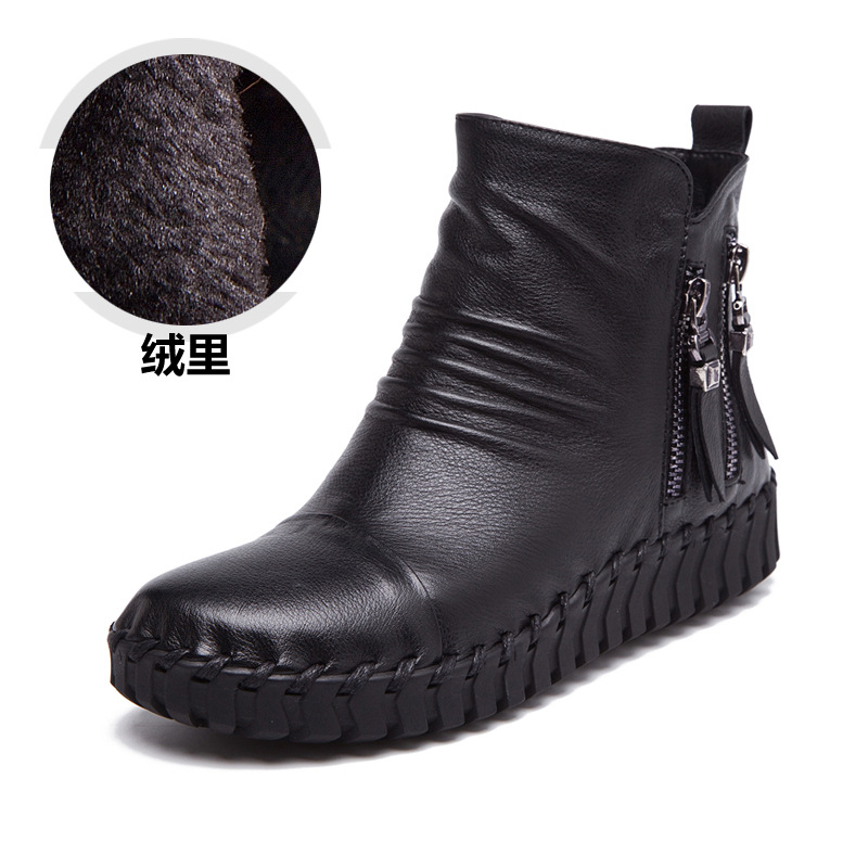 A67 Real Leather Women Boots 2018 New Fashion Soft Bottom Casual Shoes Double Zipper Tassel Winter Boots Plus Velet<br>