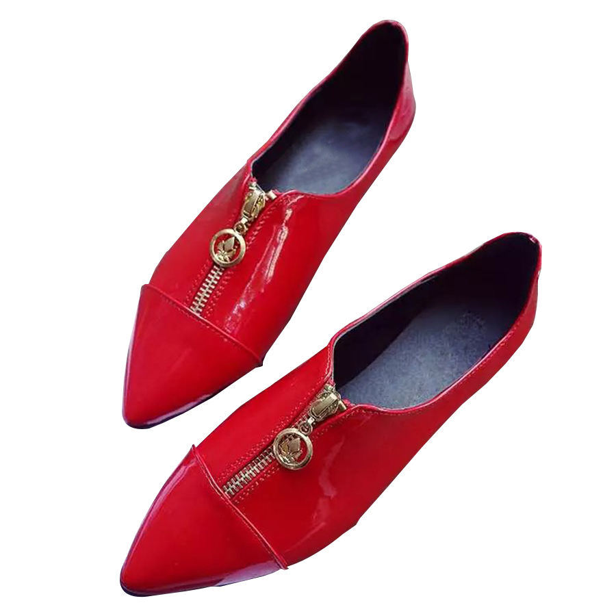 Spring Fashion Women Front Zipper Flats Pointed Toe Slip-On Flat Shoes Woman Comfortable Single Casual Flats zapatos mujer<br><br>Aliexpress