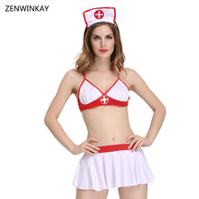 Buy Female Sexy Nurse Costume Erotic Costumes Porn Lingerie Role Play Costumes Wear Sex Cosplay Sexy Women Slutty Dress 4 Pieces Set