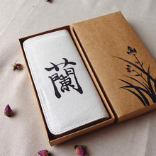 Hand Painted Chinese Calligraphy Orchid Flower Women Canvas Wallets Zip Ladies Linen Vertical Purse Notecase Portemonnee Mujer