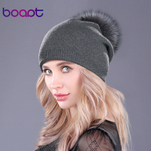 [boapt] Natural Raccoon Fur Pompon Hat Thick Winter For Women Cap Beanie Hats Knitted Cashmere Wool Caps Female skullies beanies(China)