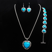 New Styles Heart Blue Stone Jewelry Set Vintage Antique Silver Necklace Sets Pendant Earring Bracelet For Women Jewelry