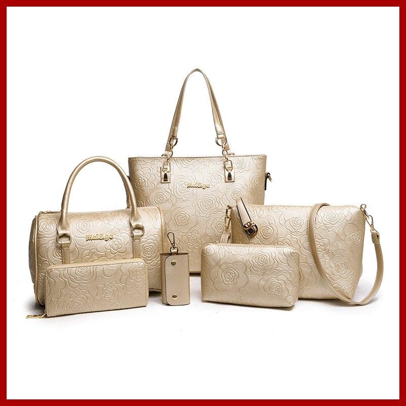 Fashion Spring Autumn Women Handbag Leather Big Shoulder Bags 5 Color Zipper Ladies Bag Bolsas Femininas High Quality 6 Pcs/set<br>
