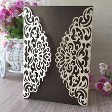 50pcs/lot New Laser Cut Pearl Paper Wishes Wedding Invitations Paper Card for Party Supplies Birthday casamento Universal Cards(China)