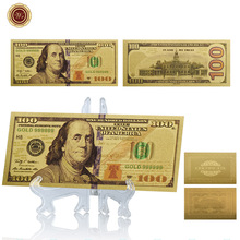 WR NEW USA 100 Dollars Gold Plated Banknote Colored Foil Art Crafts with Plastic Stand Fake Challenge Bills for Home Decoration
