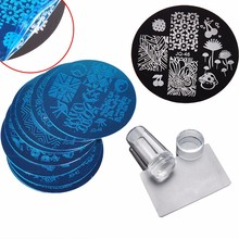 10Pcs Nail Plates + Clear Jelly Silicone Nail Art Stamper Scraper with Cap Stamping Template Image Plates Nail Stamp Plate Tool(China)