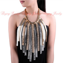 Punk Unique Valentine's Gift Super Exaggerate Design Famous Chain Tassels Pendants Statement Long Necklaces Boho Party Jewelry