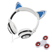 Tri-Spinner Fidget and Foldable Flashing Glowing cat ear headphones Gaming Headset Earphone with LED light For PC Mobile Phone(China)