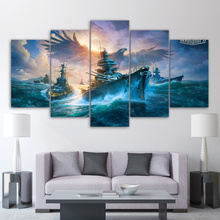 Decor Pictures Home Decor Paintings On Canvas 5 Panel World Of Warships Landscape  Wall Pictures For Living Room HD Print YGYT
