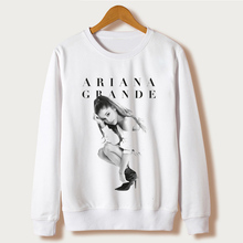 White 2017 Harajuku Design Sweatshirts Ariana Grande Print Hoodies Femme O-neck Character Sudaderas Mujer Pullovers Plus Size