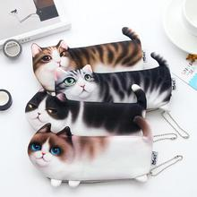 New Cute Cat Face Printed Zipper Coin Purses For Kids Students Pencil case Cartoon Wallet Bag coin Pouch Children Purse Holder(China)
