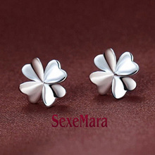 Flower Earrings Stud 100% Sterling-silver-jewelry Wedding Ladies 925 Silver Earrings ed81 boucle d'oreille femme brincos aretes
