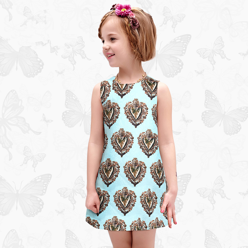 Toddler Girls Dresses Children Clothing 2017 Brand Princess Dress for Girls Clothes Fish Print Kids Beading Dress 1 3<br>