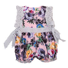 Cute Newborn Baby Kids Girls Floral o-neck back zipper sleeveless waist bowknot petal polka dot edge romper Outfit Clothes 0-2Y(China)