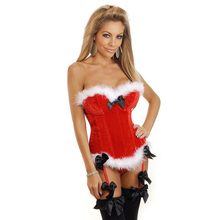 Women's Sexy Red Christmas Santa Costume Bustier Corset Top Lingerie Holiday Costumes Overbust Corsets and Bustiers Santa Dress(China)
