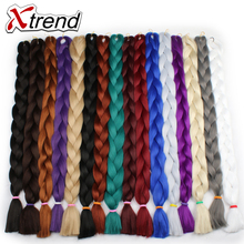 Xtrend Synthetic Kanekalon Jumbo Braids Hair Bulk 42'' 165g/Pack Long Crochet Braiding Hair Extensions Black Blonde Gray Blue
