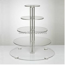 Hot seller 5 Layer Tier Crystal Acrylic Thickness Round Cupcake Display Stand For Wedding Party Christmas Cake Display Rack