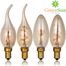 Gold Tint,E14 Edison LED Filament Bulb,C35 Vintage Spiral Lamp,Super warm 2200K,Soft Flexible Cob Bulb,Dimmable AC - GreenSun Lighting Profession Store store