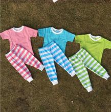 Cute pajamas wholesale cotton 100%cotton pajama set kids pajamas set kids plain pajamas(China)