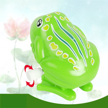 Kids Wind Up Clockwork Toy Mini Pull Back Jumping Frog Toys for Children Boys Color Green High Quality Wind Up Toys(China)