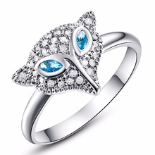 Wholesale Women Fashion rings The Fox Animal Design London Blue CZ  White Gold Color Ring Cocktail Party Weding Jewelry
