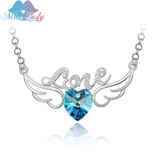 Miss Lady Rose Gold color Austrian Crystal Wedding bridal angel wings Love Heart Necklaces & Pendants for women MLY4280(China)
