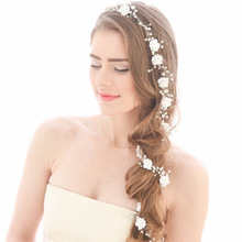 Idealway Women Silver Metal Flower Pearls Wedding Tiara Headpiece Hair Vine Long Bridal Headbands Wedding Head Chain Accessories(China)