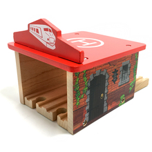 p116 free shipping Beech wood multifunctional garage Wooden track compatible Thomas train track Children track scene game toys(China)
