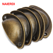 NAIERDI 20PCS Retro Metal Kitchen Drawer Cabinet Door Handle Furniture Knobs Handware Cupboard Antique Brass Shell Pull Handles(China)