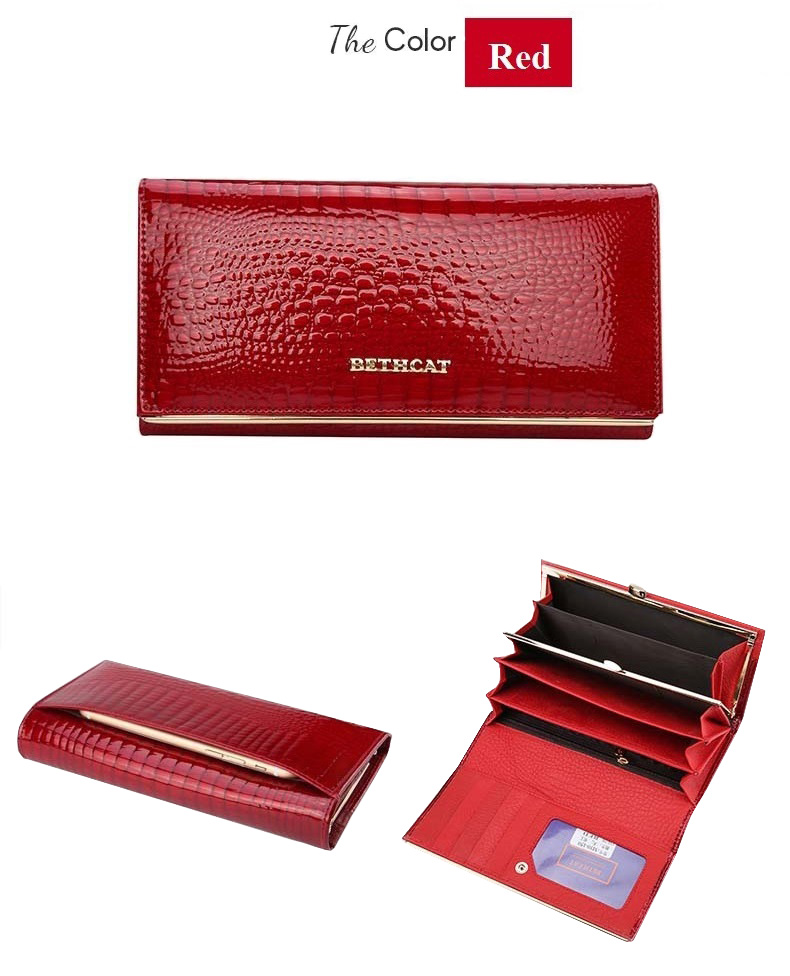 Beth Cat Women Wallets Genuine Leather Alligator Long Ladies Women Wallet Female Hasp Woman Coin Purse Wallet 2017 Womens Purses-10