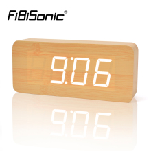 FiBiSonic Factory Wood Alarm Clocks,Thermometer Wood LED Table Clocks with Sounds Control ,Big Numbers Digital Clock