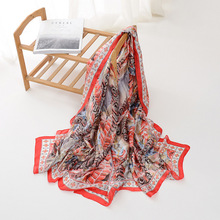 180*90cm Silk Floral Leaf Leopard Pattern Scarf Realistic Painting Shawls For Women Long size Soft Elegant Pashmina Stoles YG283