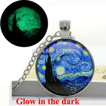 Glow in the dark Necklace The Starry Night by Vincent Van Gogh Necklace 1889-  Star,Blue,Night Time,Evening Star glowing jewelry
