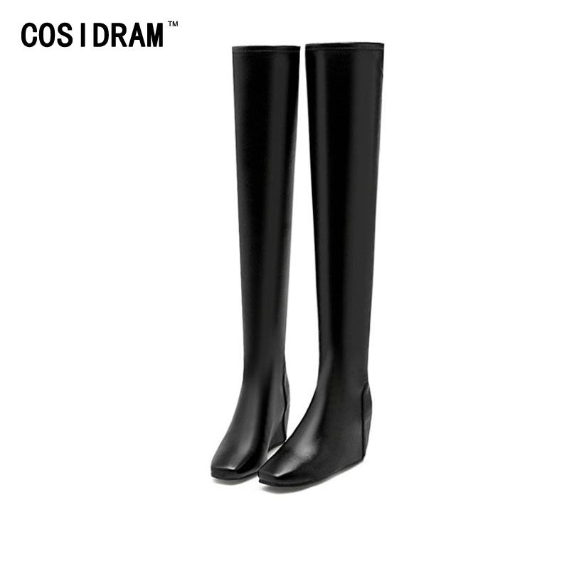 2017 Over The Knee High Boots Wedges Motorcycle Boots Winter Shoes Casual Martin Female Booties Ladies Sexy Botas Mujer SNE-224<br><br>Aliexpress