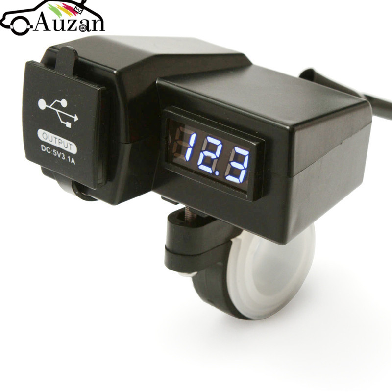 Dual USB Charger Adapter Plug Waterproof 12/24V Car Motorcycle Cigarette Lighter Socket ATV Scooter Digital LED Voltmeter