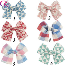 "30 Pieces/lot 4.5"" Fabric Hair Bows Without Clip For Kids Girls Boutique Sewn Knot Bows DIY Clothing Applique Hair Accessories"