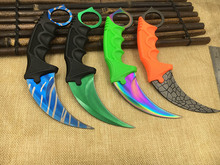 CS GO Counter Strike claw Karambit Knife sharpen Neck Knife with Sheath Tiger Tooth Real game Knife camping(China)