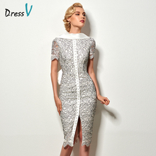 Dressv sexy backless sheath short cocktail dress vintage high neck knee length evening party lace cocktail dress with bowknot(China)