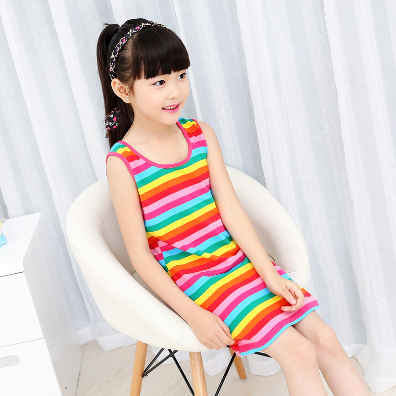 New 2017 Girl Classic Striped Dress baby girl clothes children girls summer casual rainbow dress free shipping(Hong Kong)