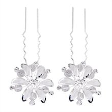 HTHL Set Mesh Flower Wedding Prom Silver Plated Rhinestone Hair Pins Clips(China)