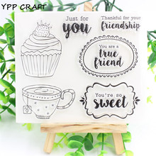 YPP CRAFT A Small Cake Transparent Clear Silicone Stamp/Seal for DIY scrapbooking/photo album Decorative clear stamp sheets(China)