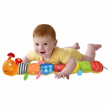 55cm Soft Baby Music Toys Caterpillar Plush Doll with Ring Bell Sound Paper Kids Early Educational Toys Drop Shipping