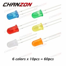 CHANZON 60pcs (6 colors x 10pcs) Diffused LED 5mm Light-Emitting Diode Lamp Assorted Kit Set White Red Green Blue Yellow Orange