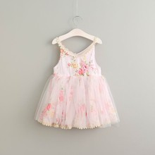 2017 Summer Girl Cotton Lace Dress Cute Baby Girl Flower Birthday Dresses Elegant Cute Childrens Dress Kids Costume Princess(China)